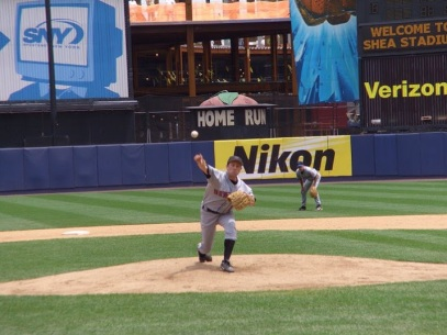 Yes, that's me pitching at Shea Stadium. Citifield is rising in the background.