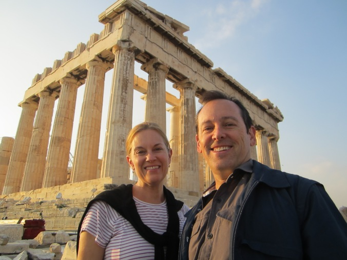 The loving couple at the Parthenon.