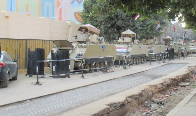 Line of tanks outside the  Cairo Museum