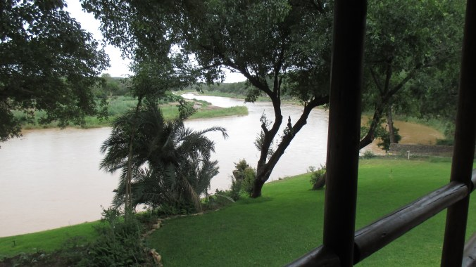 The view from our room. There are hippos out there!