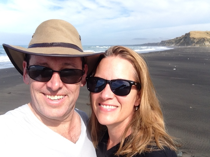 On the black sand beach at Whanganui