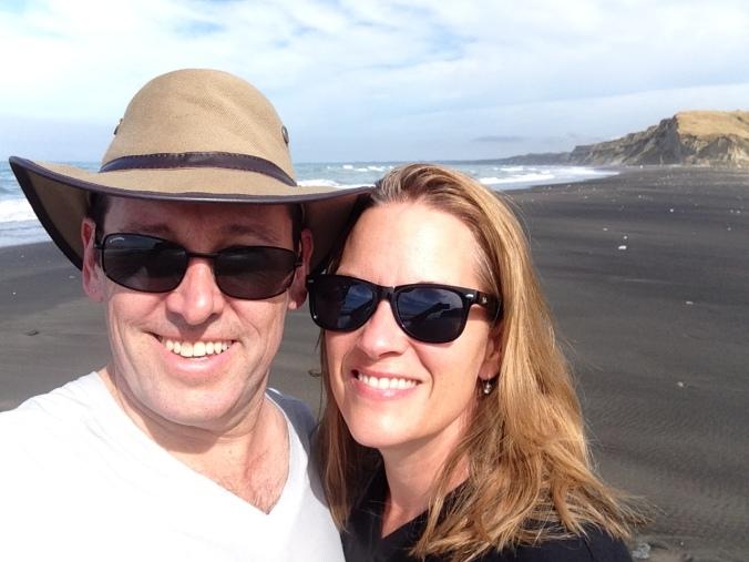 On the black sand beach at Whanganui
