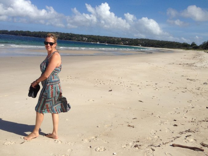 On a squeaky white sand beach in Jervis Bay.