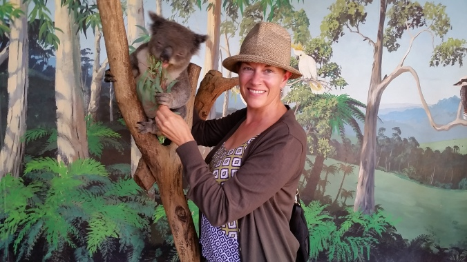 Janine with a kuddly koala.
