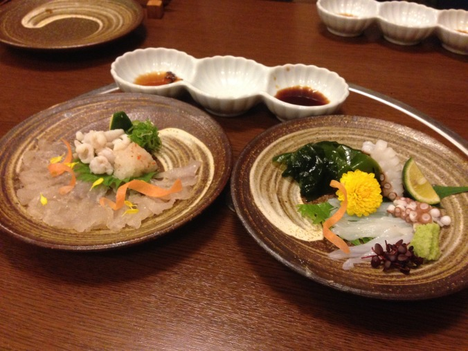 We kicked off our tour of foods you shouldn't eat with a little fugu (L), which if prepared incorrectly is poisonous.