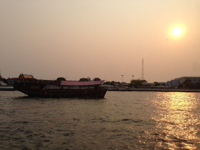 Our sunset boat ride on the Chao Praya on the way to the Siam Hotel.