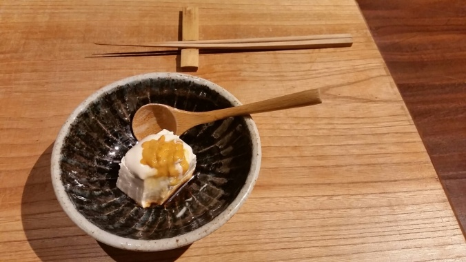 Tofu with sesame and sea urchin. Simple, glorious perfection.