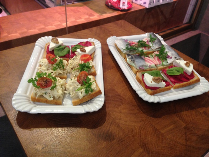 Open-faced sandwiches at Sisters.