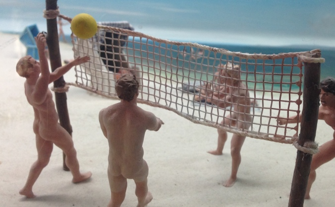 A diorama of East German nudists playing volleyball - truly the weirdest museum exhibit I've ever seen.